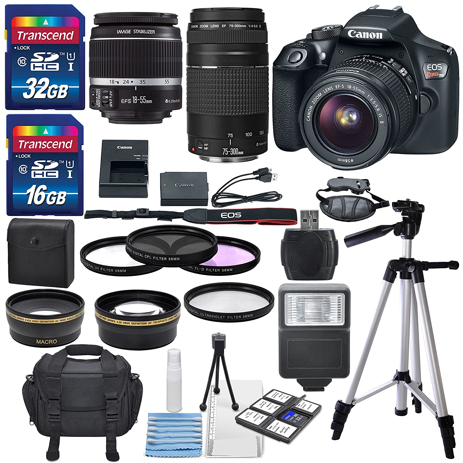 Canon-EOS-Rebel-T6-DSLR-Camera-with-EF-S-18-55mm-f-3-5-5-6-IS-II-Lens-EF-75-300mm-f-4-5-6-III-Lens-and-Deluxe-Accessory-Bundle