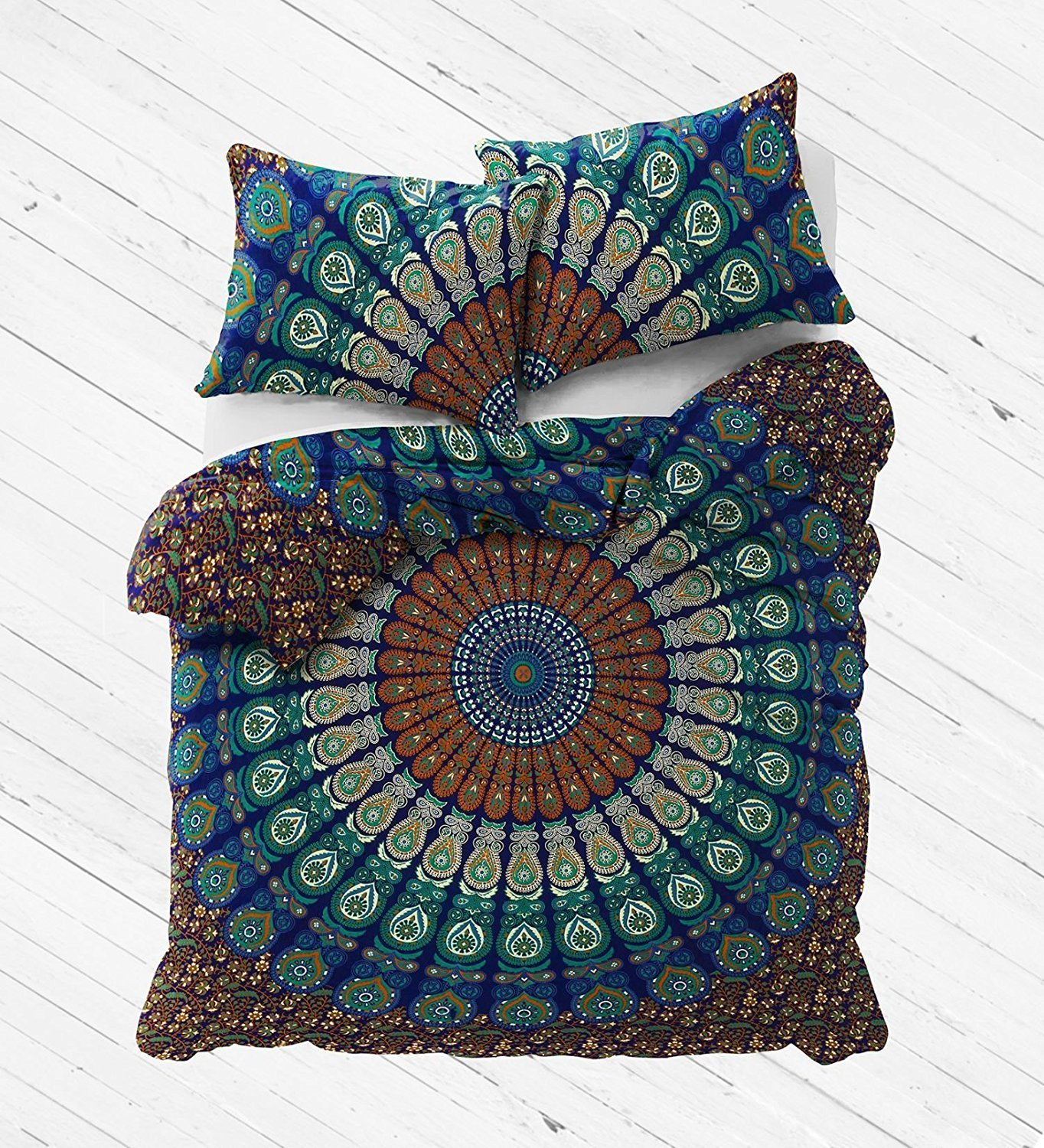 The Boho Street - Exclusive Range of Reversible Queen Size Duvet Cover Set With Pillow Covers, Indian Duvet Quilt Cover Coverlet Bohemian Doona Cover Handmade 84'' x 94''
