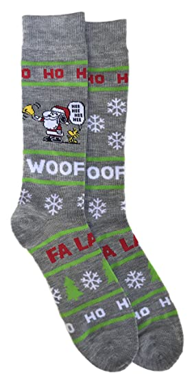5bc7f43264 Image Unavailable. Image not available for. Color  Peanuts Characters Snoopy  and Woodstock Christmas Holiday Santa Hat Men s Novelty Crew Sock