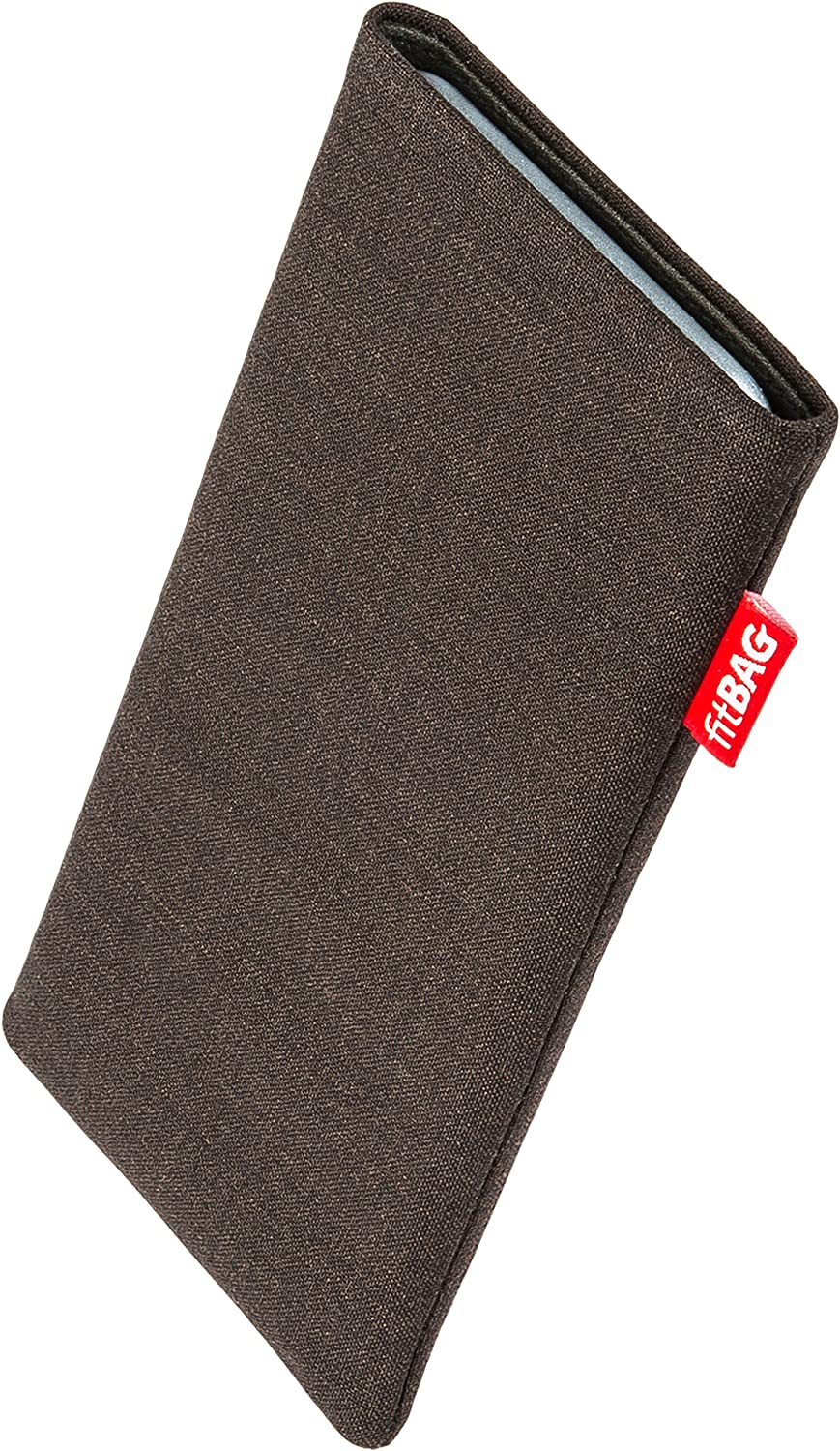 Made in Germany fitBAG Jive Gray custom tailored sleeve for Sony Xperia XZ2 Compact Fine suit fabric pouch case cover with MicroFibre lining for display cleaning