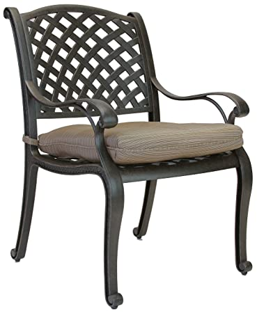 Heritage Outdoor Living Nassau Cast Aluminum Outdoor Patio Dining Chair  With Seat Cushion   Antique Bronze