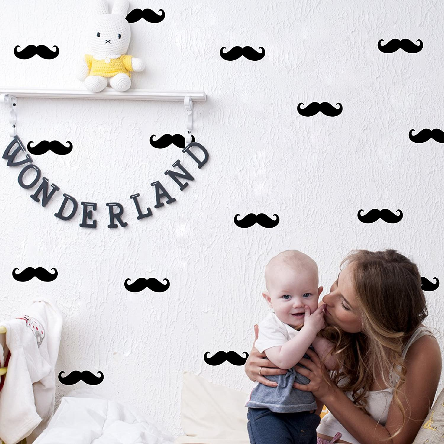 Moustache Wall Decal,Wall Art,Beard Pattern,Removable Vinyl Stickers For Kids Baby Bedroom Nursery Decoration(A03) (Black) Yystore