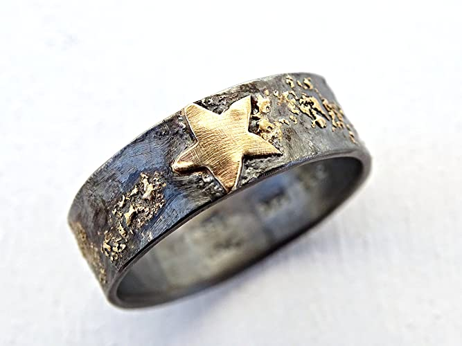 mens gold star ring mens wedding band gold and silver night sky ring - Viking Wedding Rings