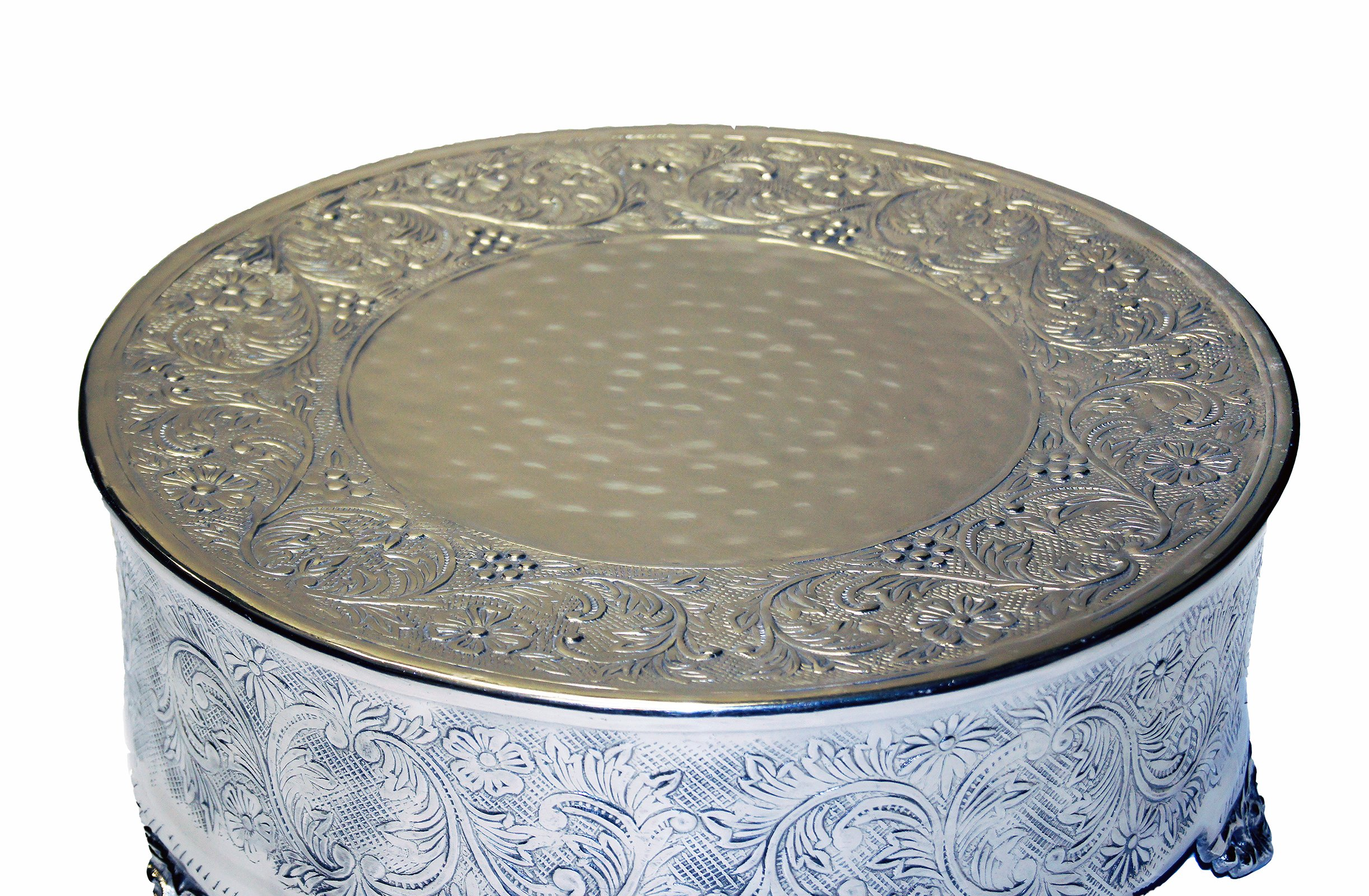 GiftBay Wedding Cake Stand 18'' Round Silver, Strongly Built for Multilayer Cake Weight