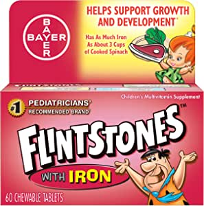 Flintstones Chewable Tablets with Iron - 60 ct, Pack of 2