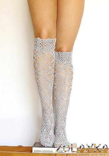 Women Crochet Knit Over Knee Thigh High Lady Socks Leg Warmer Stockings Leggings