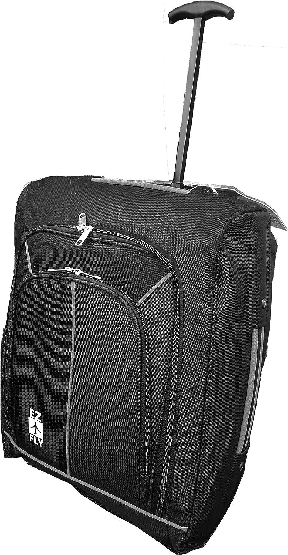 Hand Luggage 50x40x20 Wheeled Lightweight Cabin Easyjet Trolley Bag Case Aztec Black