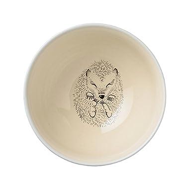 Bloomingville A21100433 Ceramic Adelynn Hedgehog Bowl with Sky Blue Trim, Multicolor