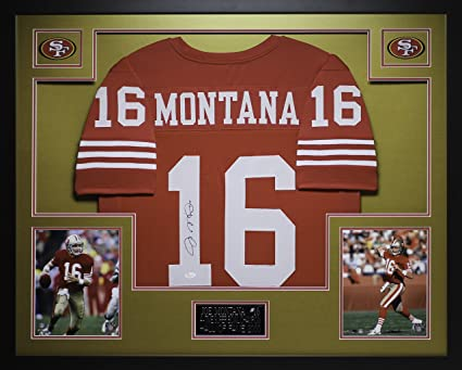 5423b2bc3 Joe Montana Autographed Red 49ers Jersey - Beautifully Matted and Framed -  Hand Signed By Joe