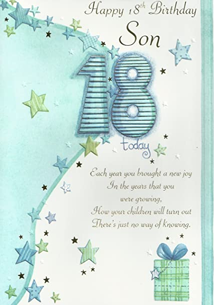Phenomenal Happy 18Th Birthday Son Card Amazon Co Uk Office Products Personalised Birthday Cards Paralily Jamesorg