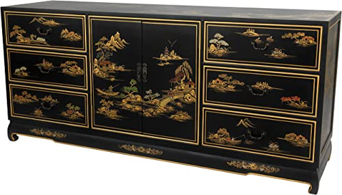 ORIENTAL Furniture Black Lacquer Dresser