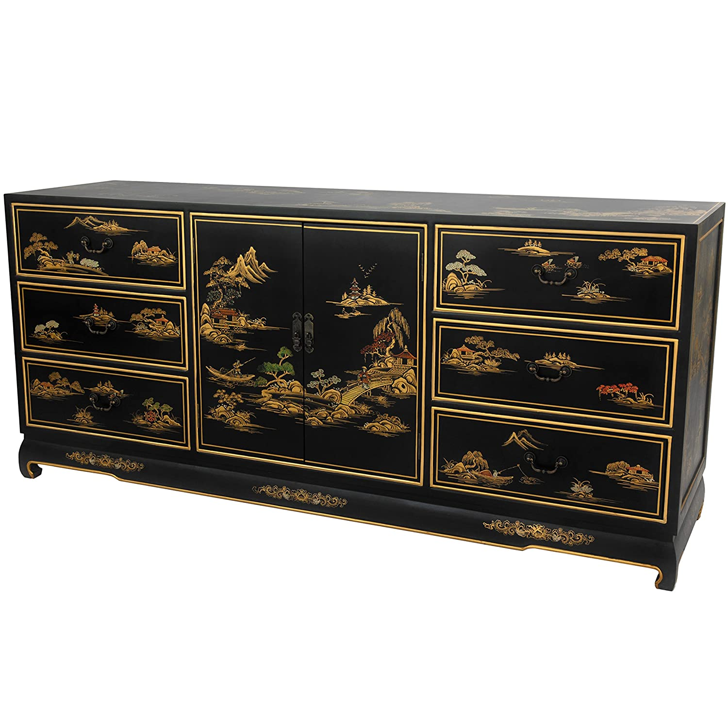 amazoncom oriental furniture black lacquer dresser  kitchen  - amazoncom oriental furniture black lacquer dresser  kitchen  dining