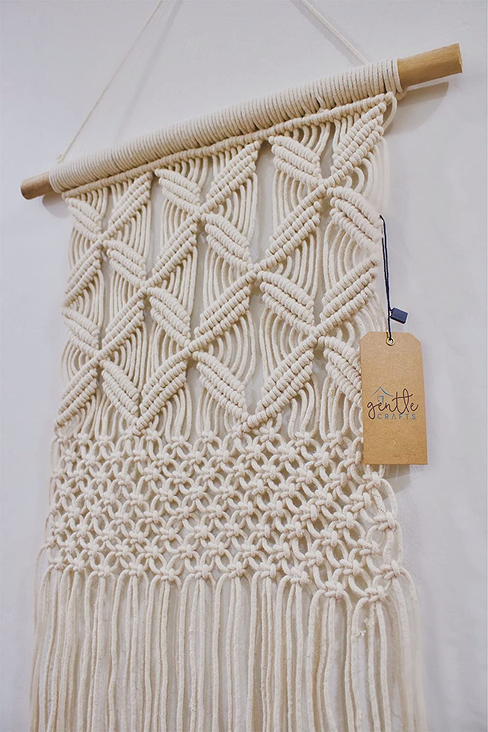 Amazon Com Gentle Crafts Boho Macrame Hanging Wall Decor Decorative Wall Art Cotton Rope Cord Woven Tapestry Home Decorations For The Living Room Kitchen Bedroom Or Apartment Everything Else