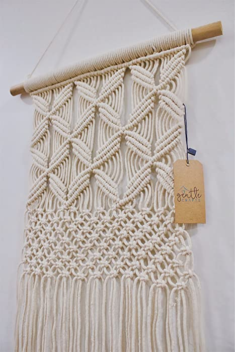 BoHo Macrame Hanging Wall Decor: Decorative Wall Art Cotton Rope Cord Woven Tapestry Home Decorations for the Living Room Kitchen Bedroom or Apartment