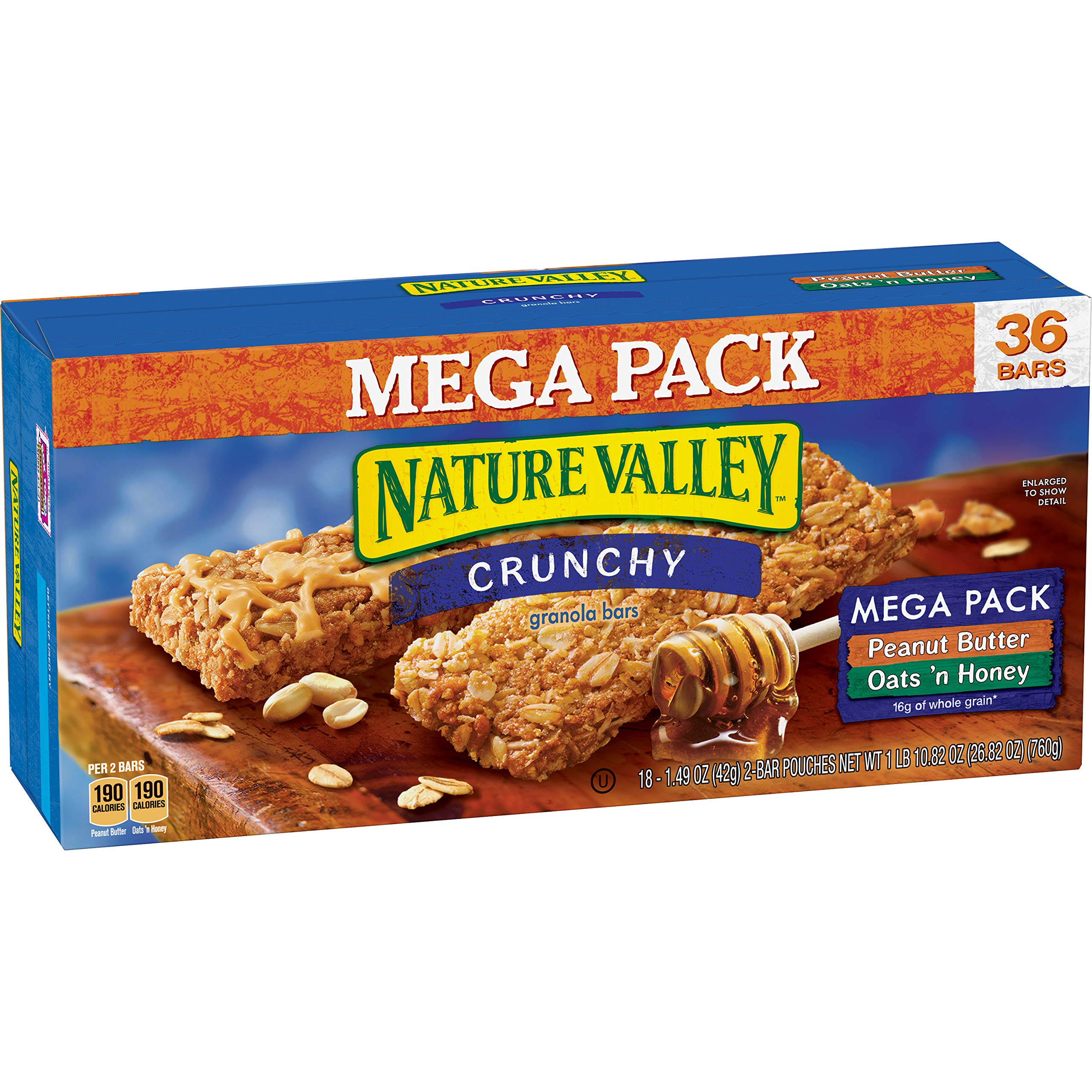 Nature Valley Granola Bars, Crunchy, Mega Pack of Peanut Butter and Oats 'n Honey, 26.82 Ounce (Pack of 1) by Nature Valley