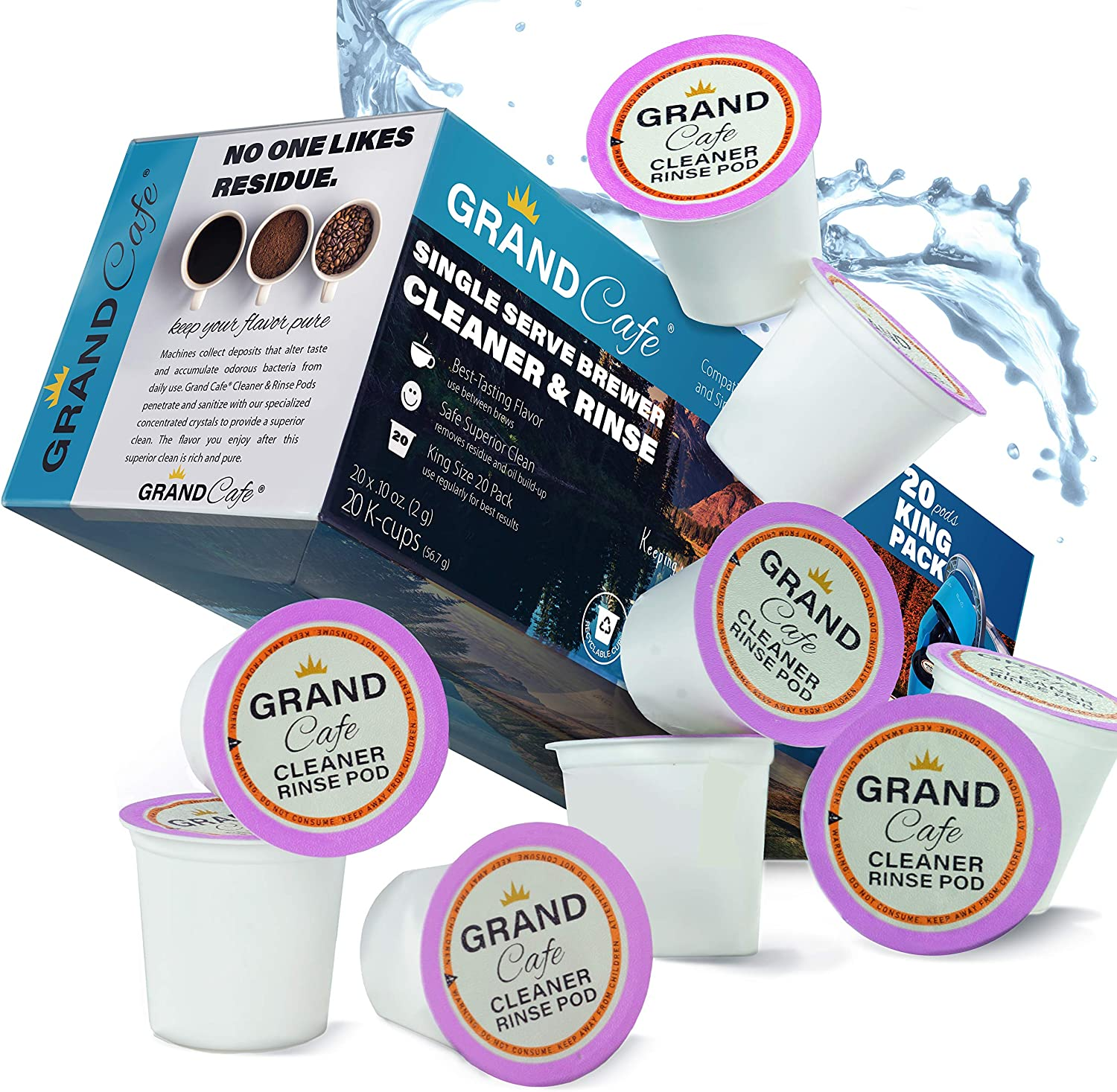 Grand Café - 20 Pack Keurig K-Cup Cleaner and Rinse for Single Serve Brewer Machines. Stain Remover, Non-Toxic - 2.0 Compatible