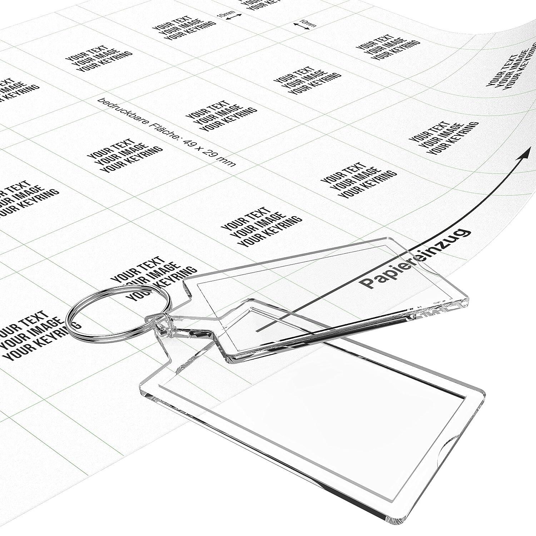 Llaveros personalizados -Hágalo usted mismo- (50 piezas), paquete incluye papel pre cortado para imprimir tus propios diseños: Amazon.es: Oficina y ...