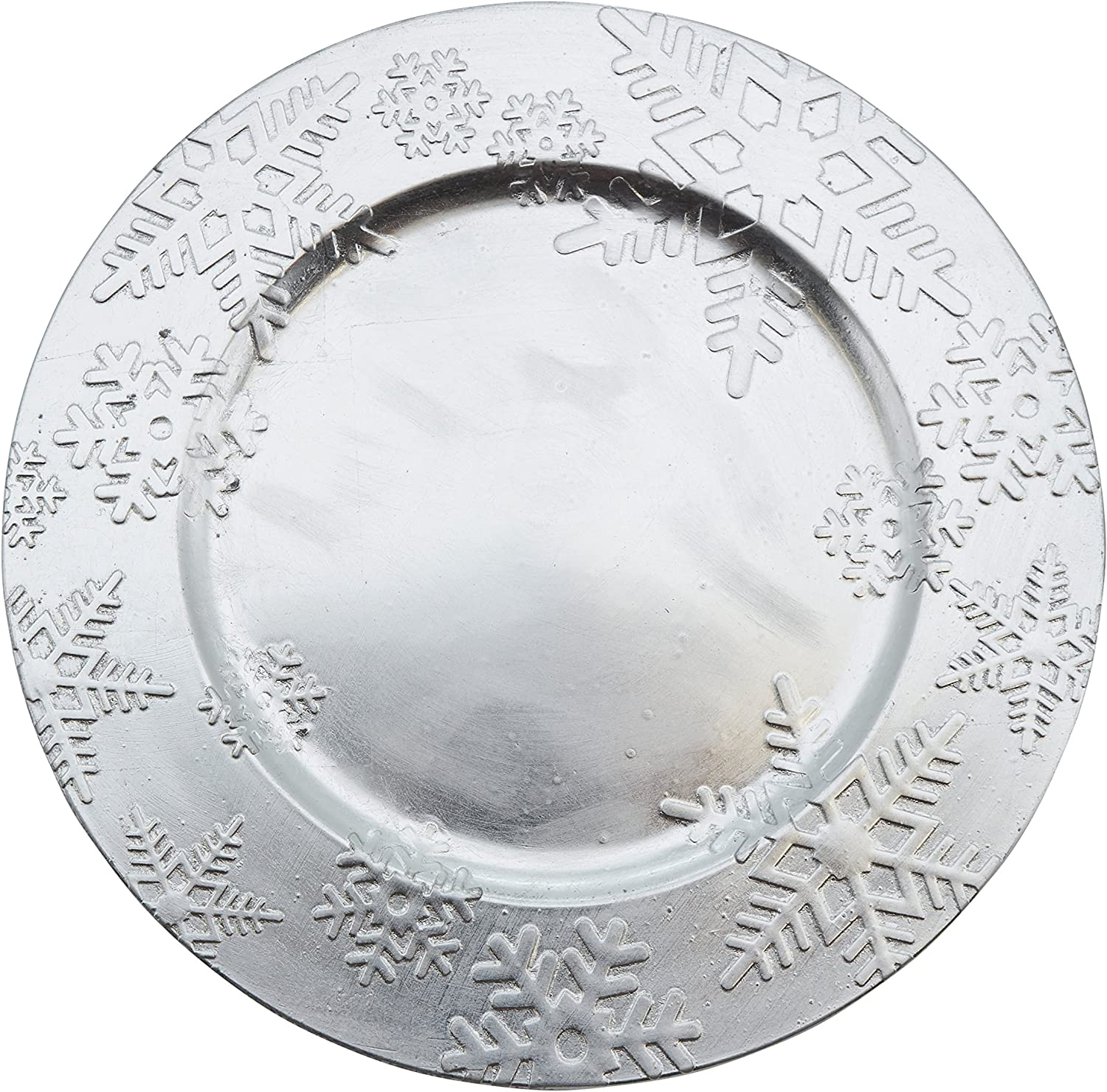 Fennco Styles Holiday Christmas Snowflake Design 13 Decorative Charger Plate-Set of 4
