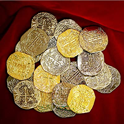 Large Metal Pirate Treasure Coins - 40 Gold and Silver Doubloon Replicas: Toys & Games