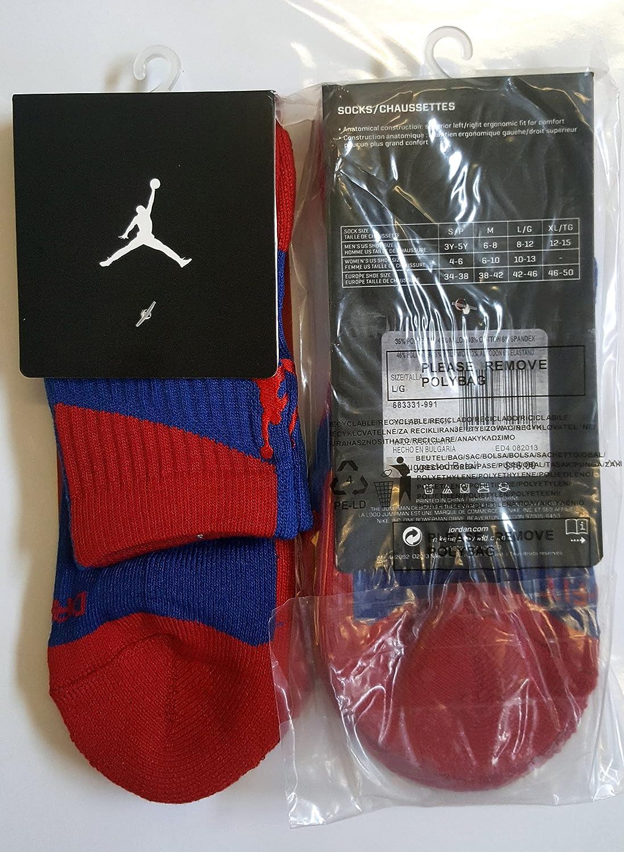 Jordan pour homme Chaussettes Sports et loisirs parfaite Qualité résistant aux chocs Dri-Fit EU 42–46(Bleu/rouge/rouge Logo)