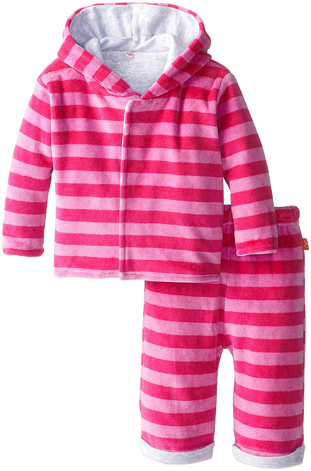 Magnificent Baby Baby-Girls Infant Berry Velour Hoodie and Pants, Hot Pink, 2T