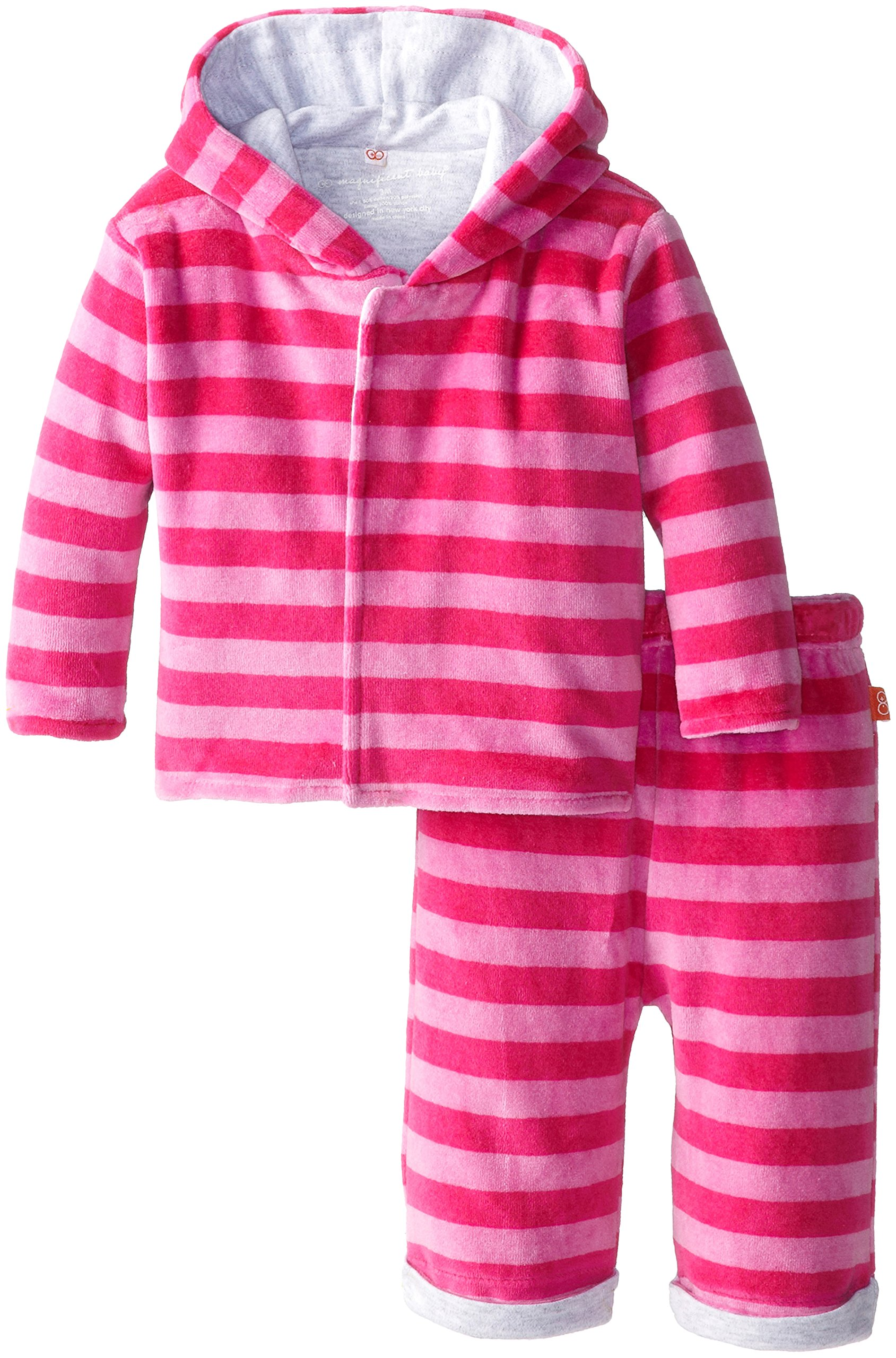 Magnificent Baby Baby Girls' Berry Velour Hoodie and Pants, Hot Pink/Berry, 9 Months by Magnificent Baby