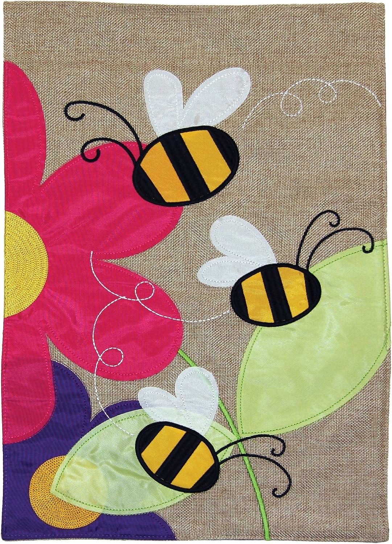 Toland Home Garden Buzzing Bees 12 x 18 Inch Decorative Flower Spring Bee Burlap Flag