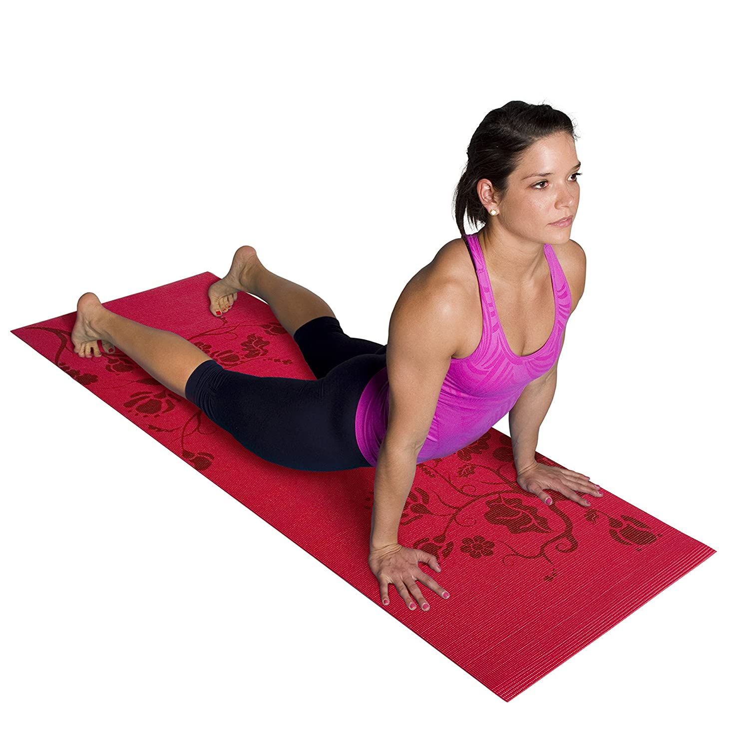 amazon com tone fitness yoga mat with floral pattern red