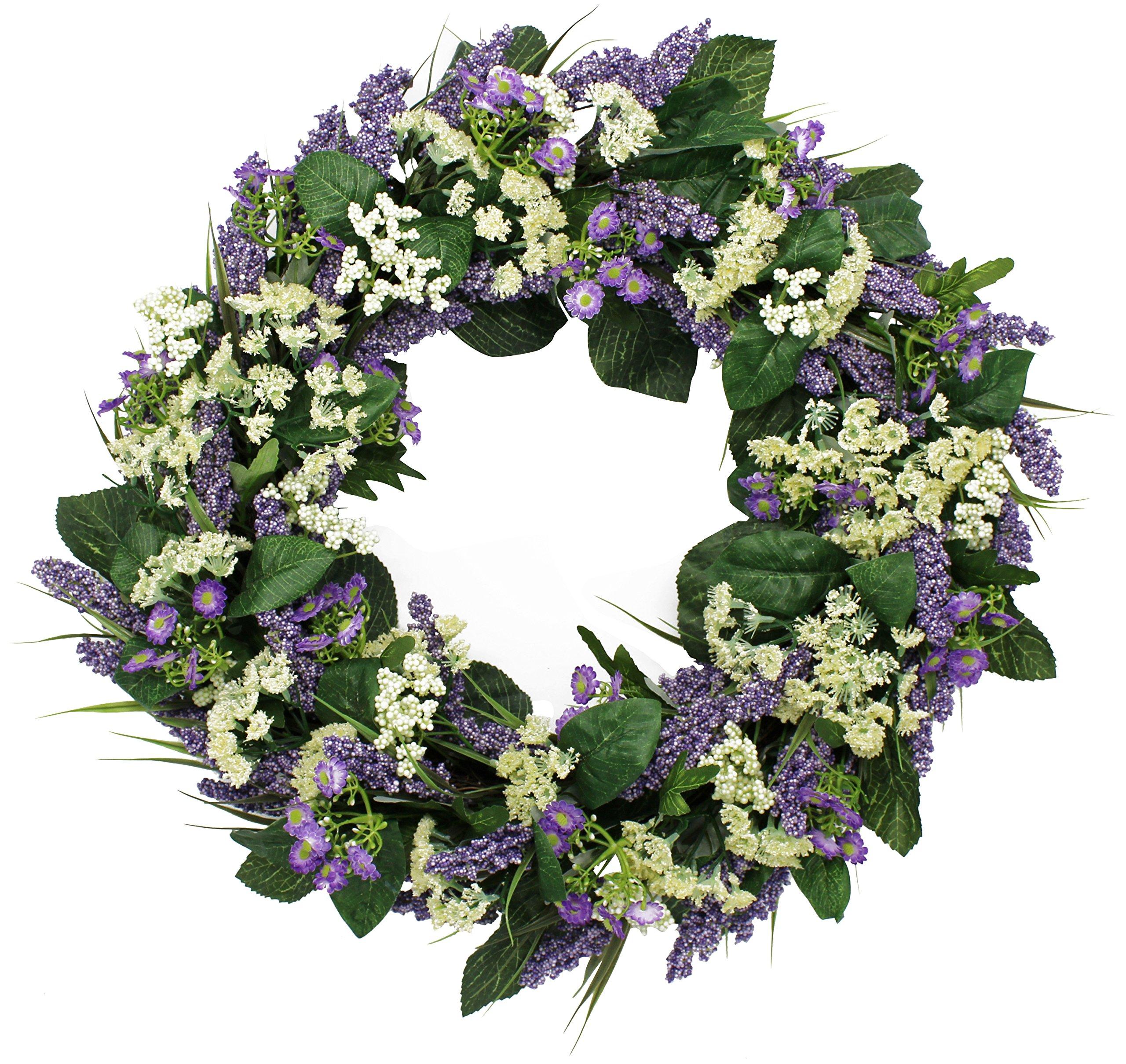 silk flower arrangements the wreath depot bishops lace spring front door wreath, 22 inches