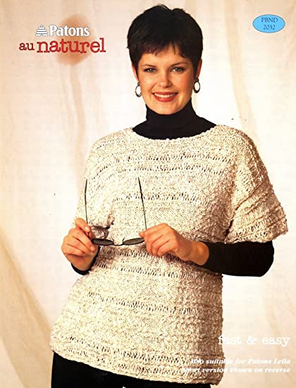 Amazon Patons Knitting Pattern Ladys Au Naturel Long And Short