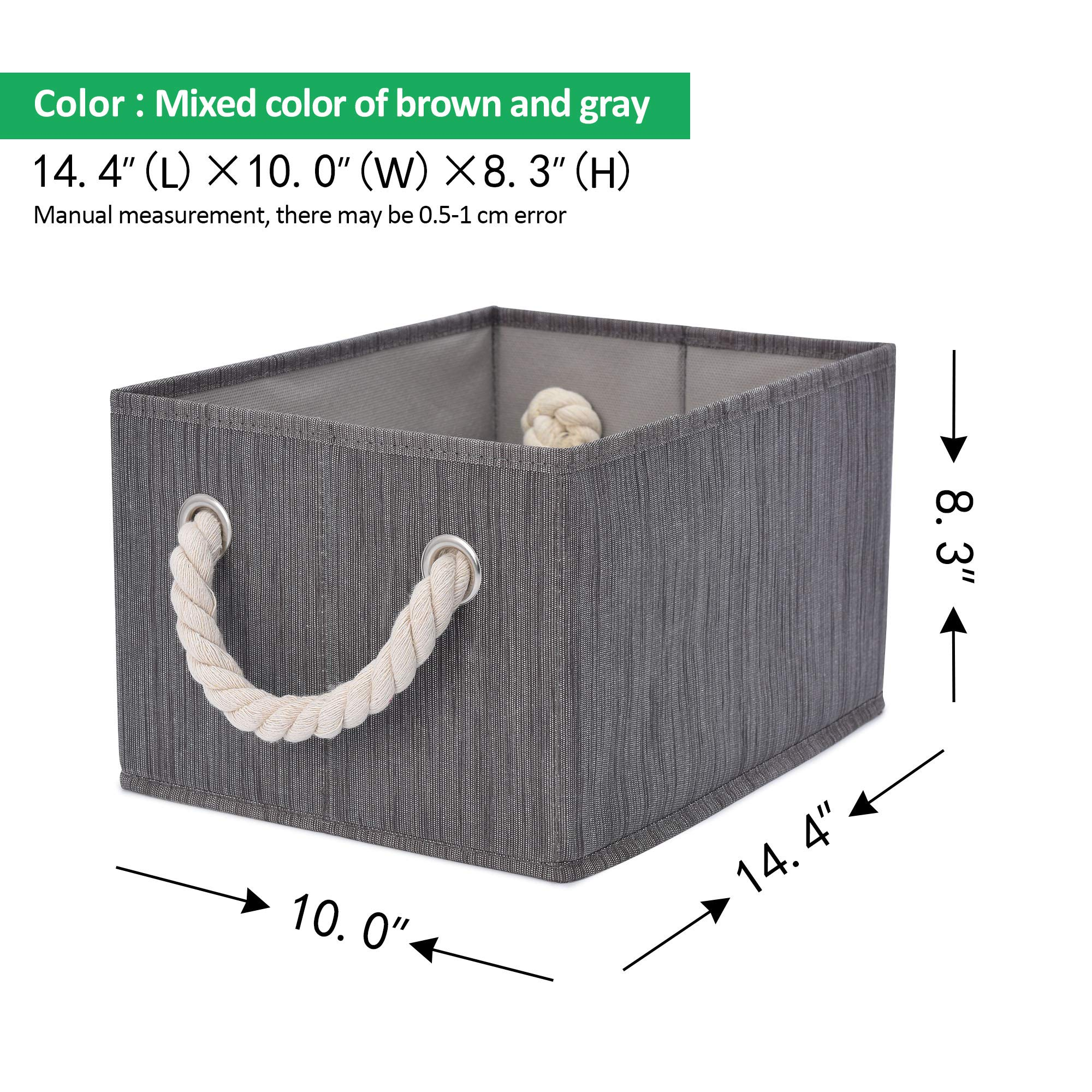 StorageWorks Decorative Storage Bins with Cotton Rope Handles, Foldable Storage Basket, Taupe, Bamboo Style, 3-Pack, Large,14.4x10.0x8.3 inches (LxWxH) by StorageWorks (Image #9)