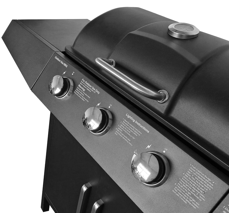 2 Rollen 3 Hauptbrenner 1 Seitenbrenner Edelstahl-Griff Gartengrill Barbecuegrill Schwarz Gasgrill BBQ Grillwagen Grillstation Thermometer