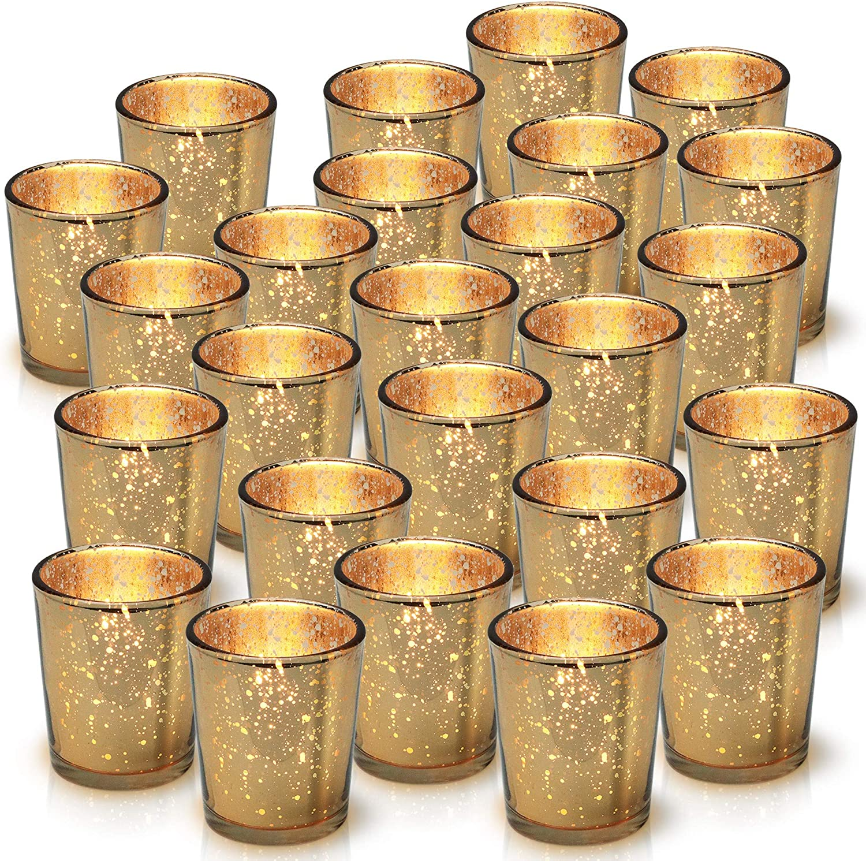Copper Glass Tea Light Holders Set of 6 Table Centrepiece Decoration Wedding Dec