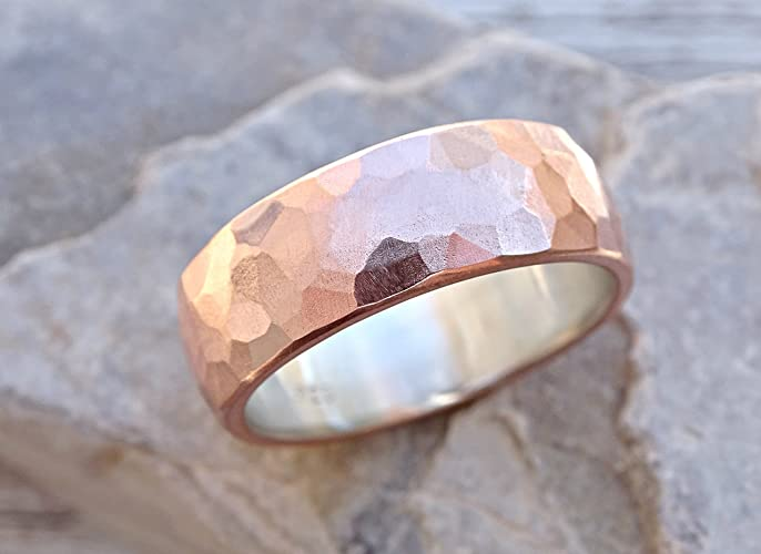 Alternative Wedding Rings.Amazon Com Wide Mens Wedding Band Copper Silver Cool Mens Ring
