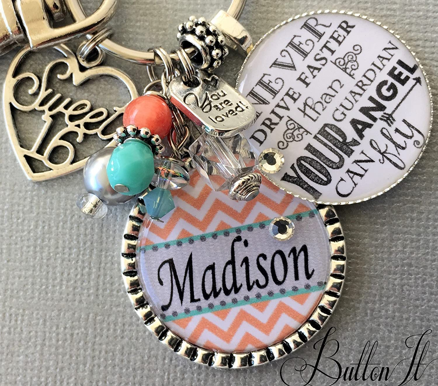 Sweet 16 Key Chain Never Drive Faster Than Guardian Angel Can Fly Birthday Gift 16th For HER Personalized Daughter Niece