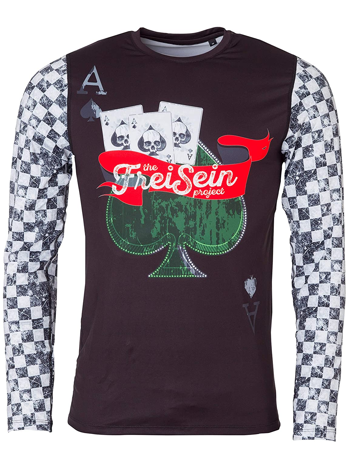 FreiSein Langarm Base-Layer Funktions-Shirt Ace of Spades (Herren) mit Karoarmen und coolem Frontprint