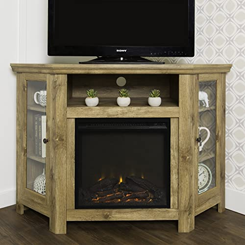 New 4 Foot Wide Fireplace TV Stand – Barnwood Finish-Corner Unit