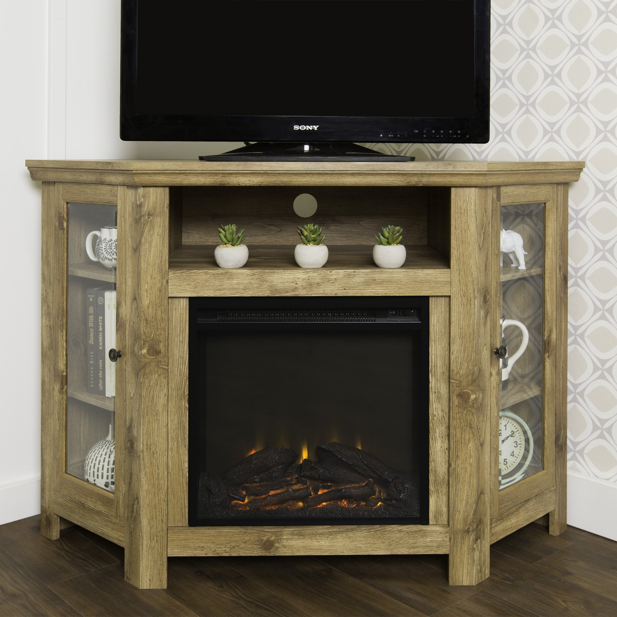 New 4 Foot Wide Fireplace TV Stand - Barnwood Finish-Corner Unit