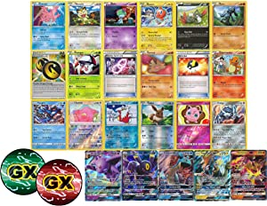 100 Pokemon Cards - Including Rares Foils Plus a GX Ultra Rare and Custom GX Counter