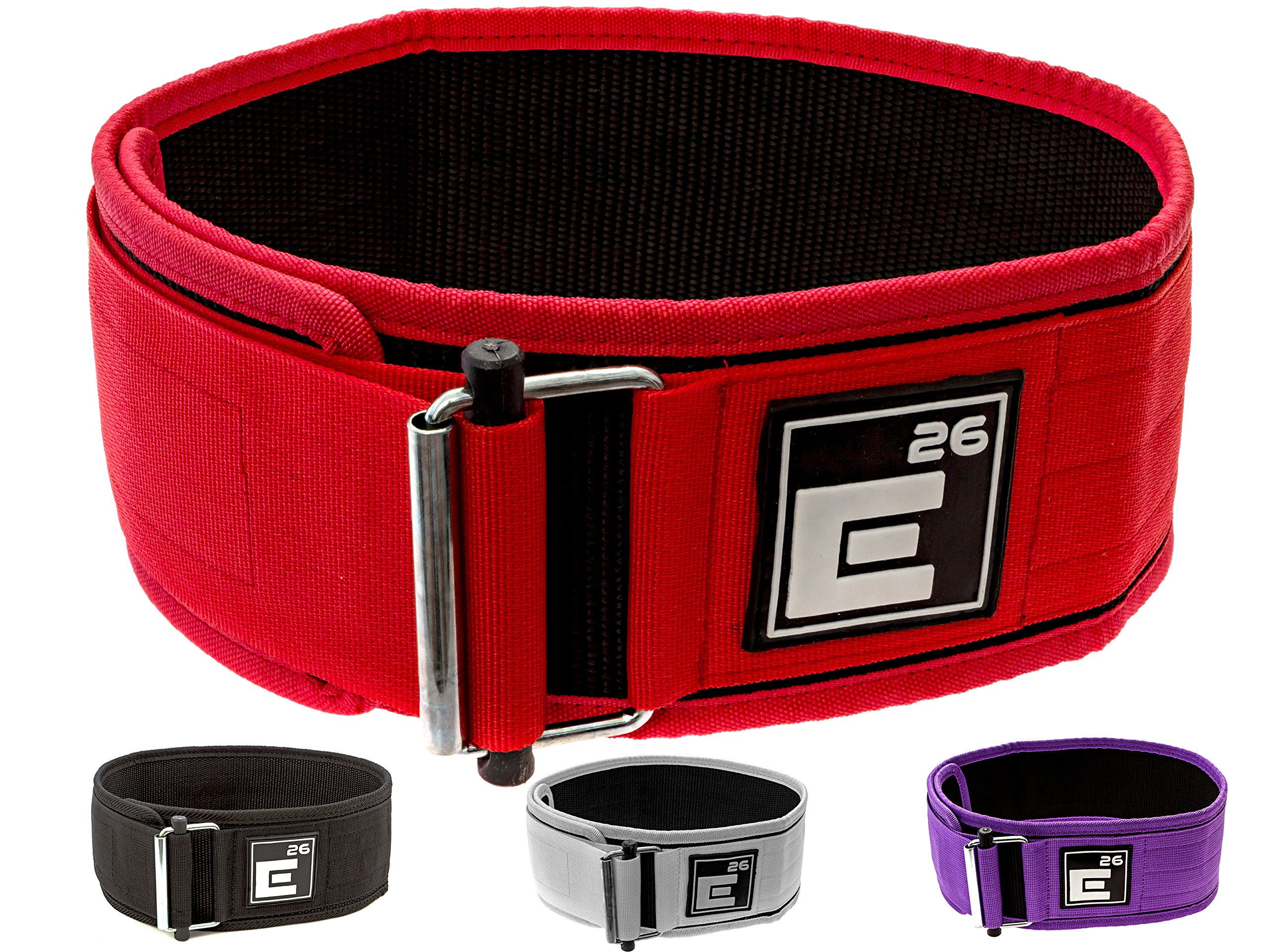 Self-Locking Weight Lifting Belt | Premium Weightlifting Belt for Serious Crossfit, Power Lifting, and Olympic Lifting Athletes (26'' - 30'', Around Navel, Small, Red)