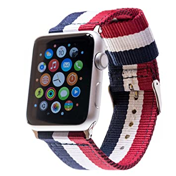 APPLE Watch Pulsera 42 mm 38 mm de nylon iWatch Canvas OTAN banda Strap Relojes de
