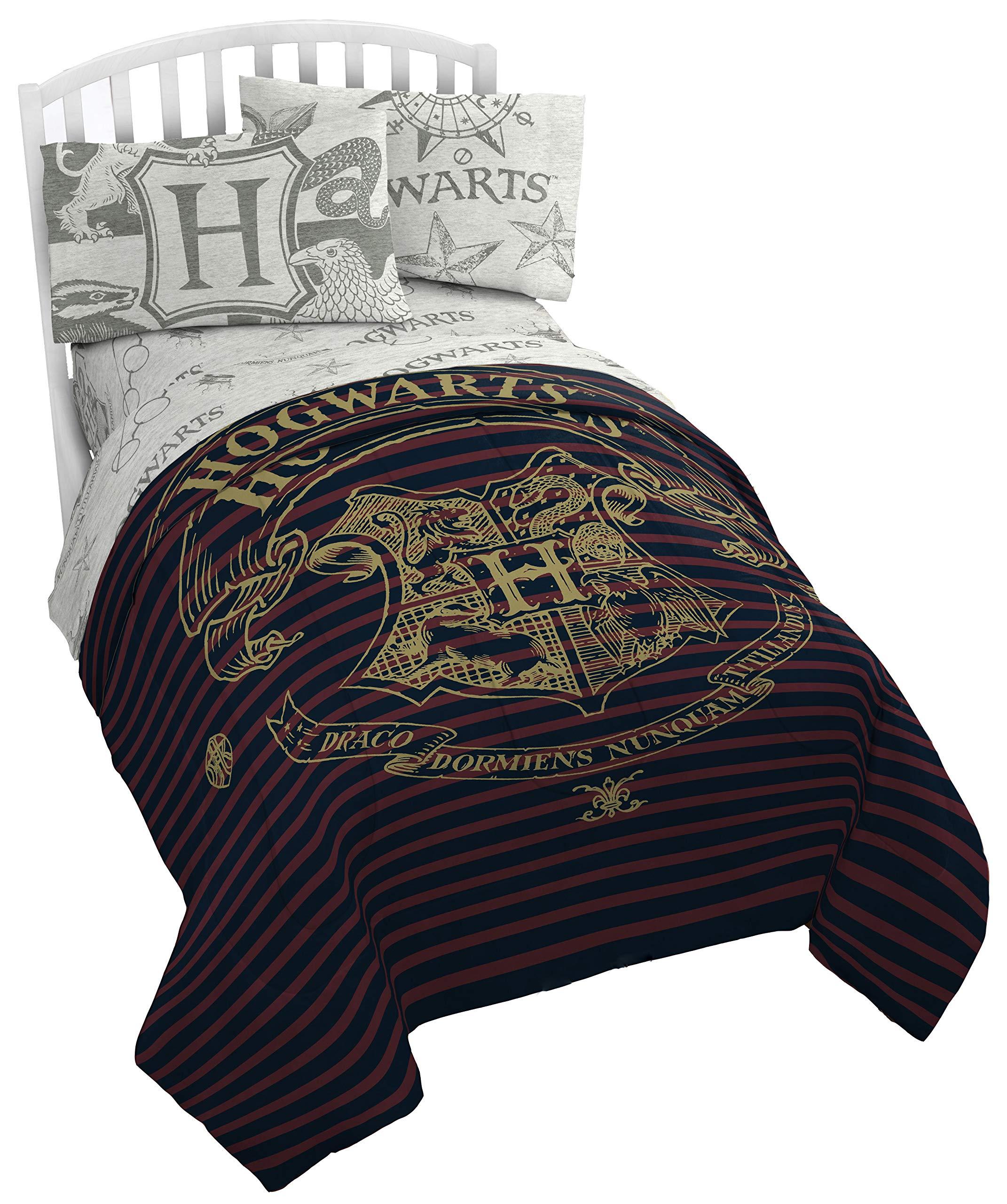Jay Franco Harry Potter Spellbound 5 Piece Full Bed Set - Includes Reversible Comforter & Sheet Set - Bedding Features Hogwarts Logo - Super Soft Polyester (Official Harry Potter Product)