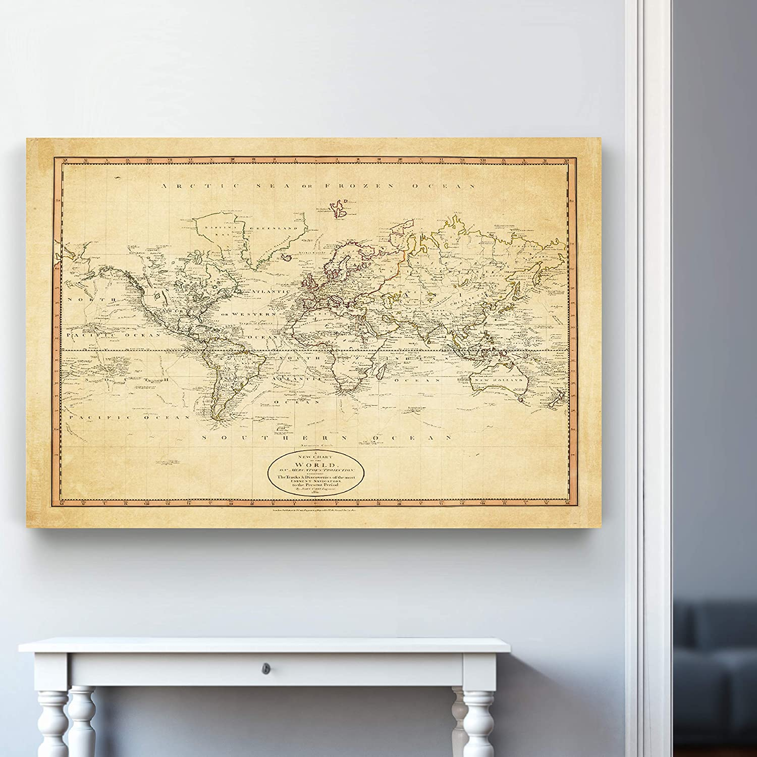 Renditions Home-Vintage-World Map-A New Chart of The World-Parchment-Print-36X48
