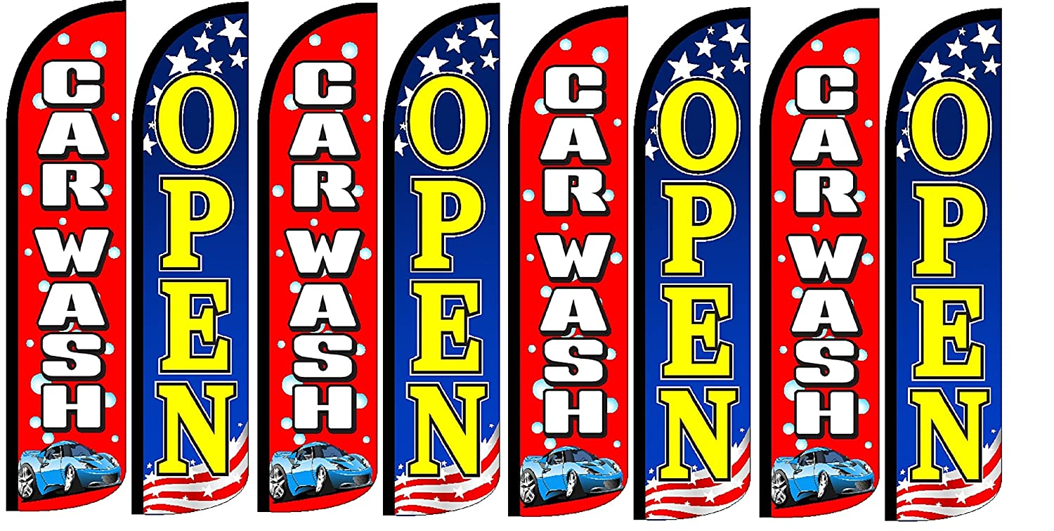CAR WASH Open King Windless Flag Pack of 8 Hardware not Included