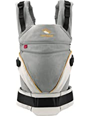 manduca XT > Grey- Orange < Baby Carrier with Adjustable Seat, 3 Carrying Positions (Front, Hip & Back), No Infant Insert Needed, Organic Cotton, Grows with Your Baby from Birth to Toddler (3.5-20kg)