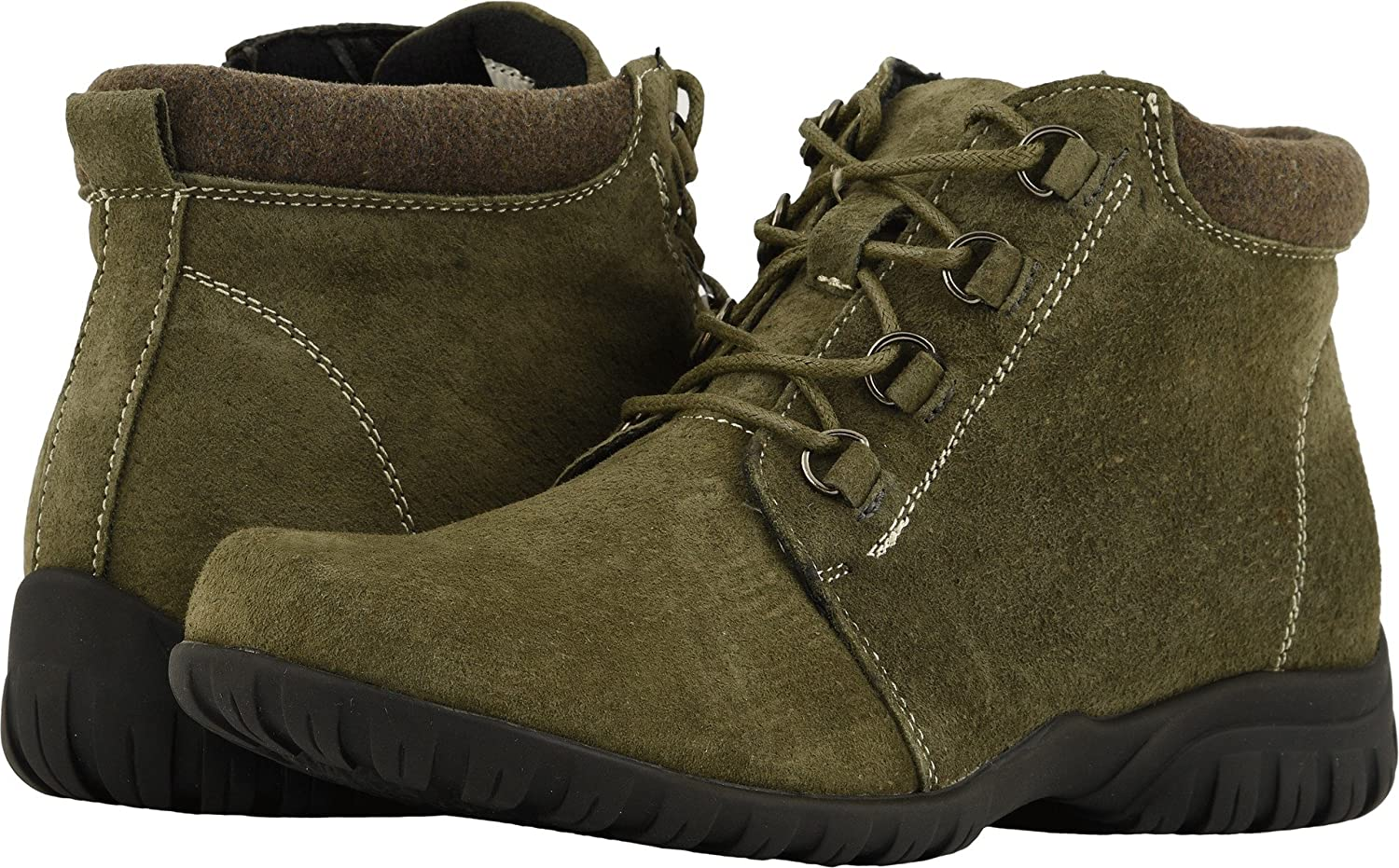 Propet Women's Delaney Ankle Bootie B078YP2Y5T 8 NARROW Narrow US|Olive Suede