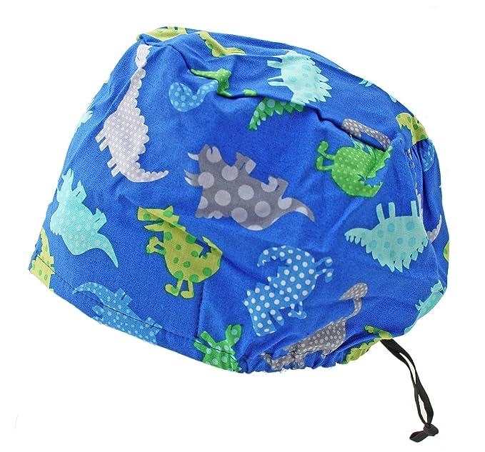 bf6550508f3 Amazon.com: Bouffant Extra Room Crazy Dinosaurs Scrub Cap Hat with ...