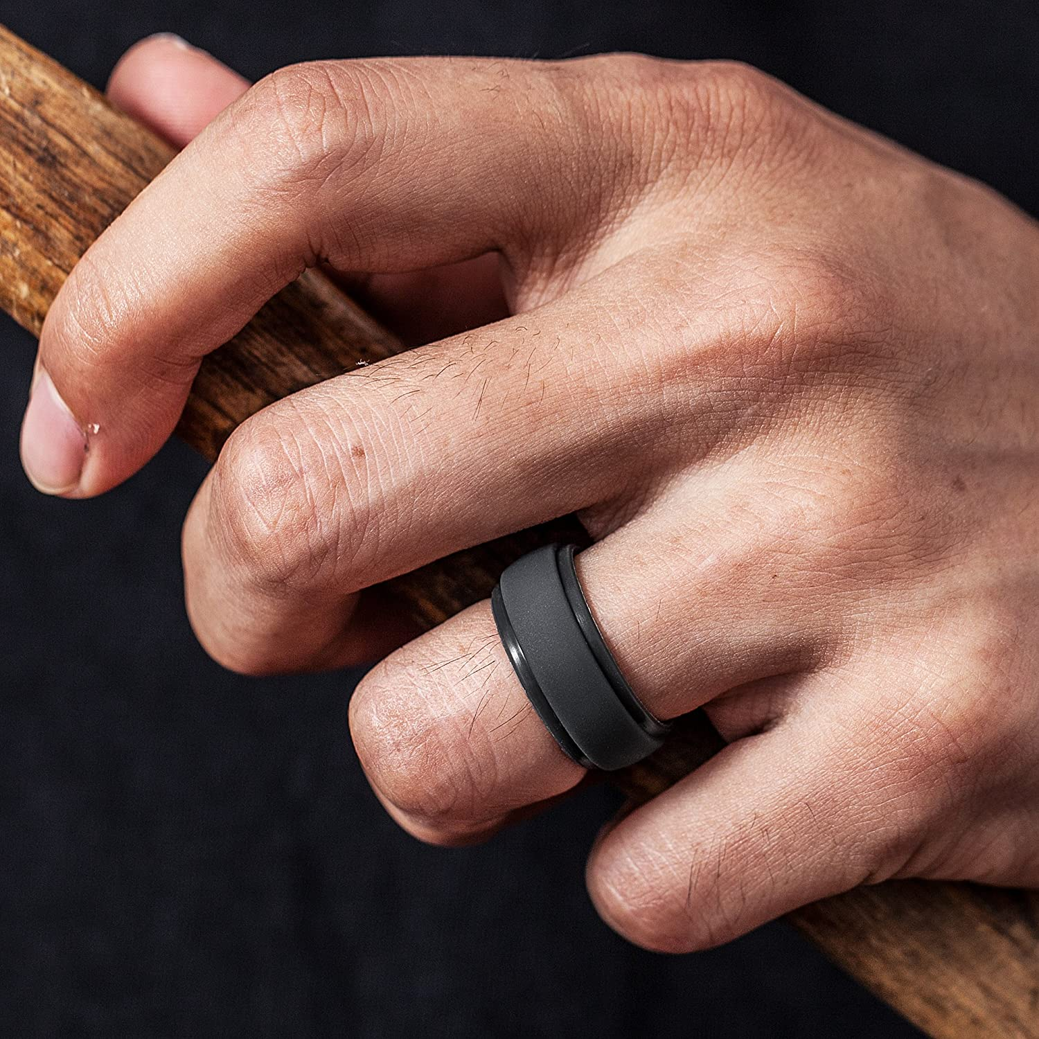 2.5mm Thick ThunderFit Silicone Rings for Men 4 Rings 1 Ring Step Edge Rubber Wedding Bands 10mm Wide 7 Rings