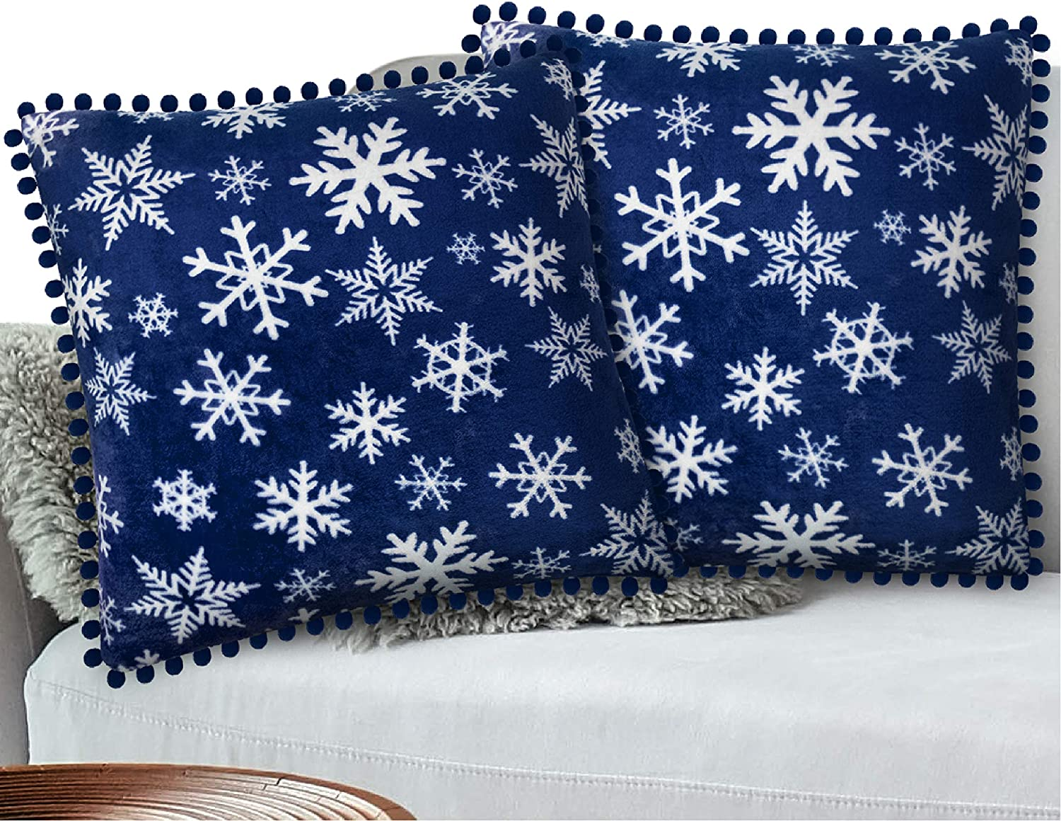 PAVILIA Holiday Fleece Throw Pillow Cover with Pom Pom Fringe, Set of 2 | Christmas Decorative Cushion Covers for Sofa Couch Bed Living Room 20 x 20 Inches, Snowflake Blue
