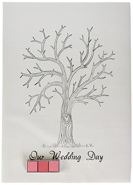 Ginger Ray Vintage Wedding Fingerprint Tree - Canvas with Inks ...